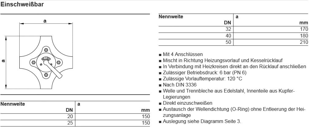 Mischereinsatz für 4-Wege Mischer DN32 Viessmann 7812438